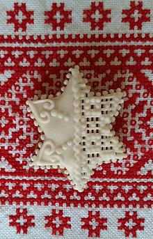 """Dekorácie - Perník s čipkou """"VIANOCE"""" (Hviezda šesťcípa) - 10020309_"""