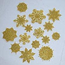 Materiál ručne robený - Snehové vločky, výrezy Zlatá glitrovaná 15 ks - 10019268_