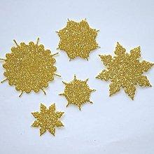 Materiál ručne robený - Snehové vločky, výrezy 1 Zlatá glitrovaná 5 ks - 10019301_
