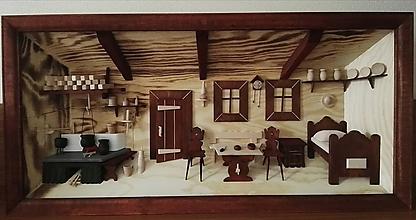 "Obrázky - Drevený obraz 3D ""Kuchyňa s posteľou"" veľká - 10017980_"