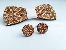 Šperky - Drevený motýlik + manžetové gombíky - 10017427_