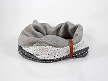 Doplnky - Ľanový trojfarebný nákrčník s koženým remienkom - 10019154_