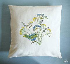 Úžitkový textil - Maľovaná návliečka v modro-žltom - 10019517_