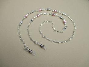 Iné šperky - Retiazka na okuliare - sivo ružová - bižutérny kov - 10017594_