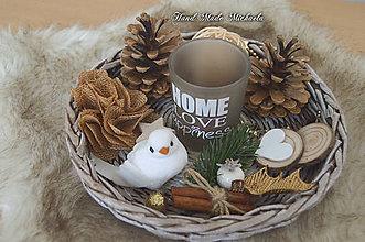 Dekorácie - Vianočná miska so sviečkou - 10018290_