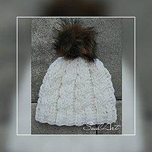 Čiapky - Háčkovaná čiapka, smotanovej farby s brmbolcom, pre dievča i chlapca - 10018105_