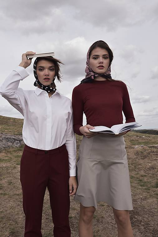 Nohavice - Červené bavlnené nohavice - 10017784_
