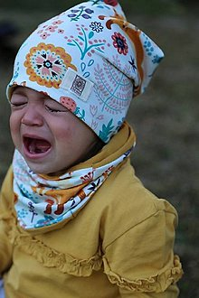 Detské čiapky - čiapka a nákrčník so vzorom líška - 10018134_
