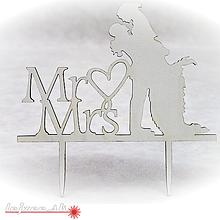 Dekorácie - Zápich do torty - Mr and Mrs - 10019346_