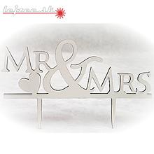 Dekorácie - Zápich do torty - Mr and Mrs - 10019385_