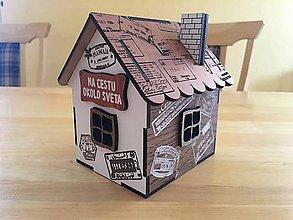 Krabičky - drevená Chalúpka / Domček - pokladnička s vlastným logom, nápisom, venovanim - 10016894_