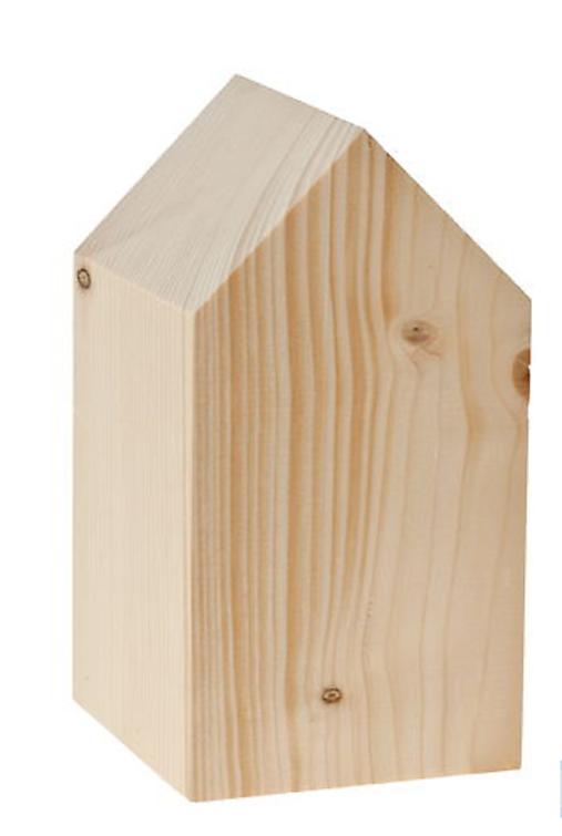 Drevený domček, 8 x 8 x 15 cm, prírodný