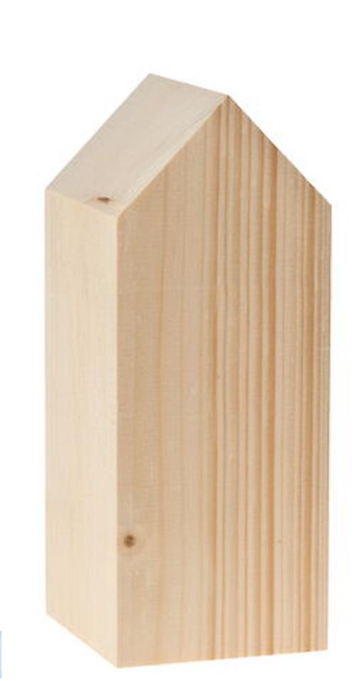 Drevený domček, 8 x 8 x 20 cm, prírodný