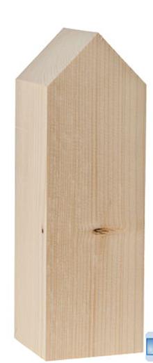 Polotovary - Drevený domček, 8 x 8 x 25 cm, prírodný - 10018557_