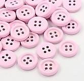 Galantéria - Drevený gombík 18mm - ružový - 10016953_