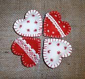 Dekorácie - Vianočné ozdoby - srdiečka 4 ks - 10016959_