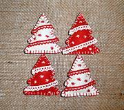 Dekorácie - Vianočné ozdoby - stromčeky 4 ks - 10016960_