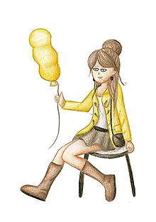 Kresby - Kreslené dievča s balónom (2) - 10019077_