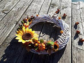 Dekorácie - Jesenný veniec (Vitajte) - 10024595_