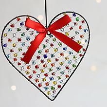 Dekorácie - srdiečko ♥ srdce (pestrofarebné) - 10022708_