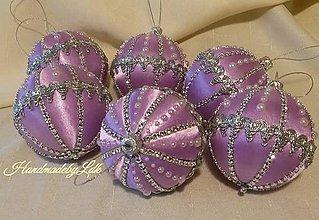 Dekorácie - Vianočné gule svetlo fialové - sada 5 ks - 10020707_