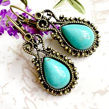 Náušnice - Vintage Tyrkenite Teardrop with Ornaments Earrings / Bronzové náušnice tvar slzy s tyrkenitom /1060 - 10021182_