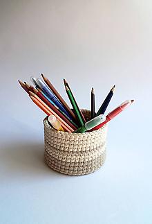 Košíky - Košík na ceruzky | Pásiky | Béžový | svetlý | mini - 10022464_