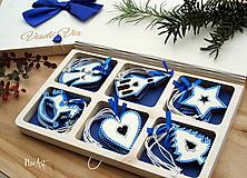 Drevené vianočné ozdoby - Modrá folklórna kolekcia 2