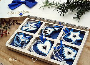 Dekorácie - Drevené vianočné ozdoby - Modrá folklórna kolekcia 2 - 10024189_
