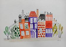 Obrazy - Továrne mesto  ilustrácia / originál maľba - 10020525_