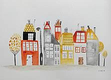 Obrazy -  Mesto oranžové   ilustrácia / originál maľba  - 10020534_