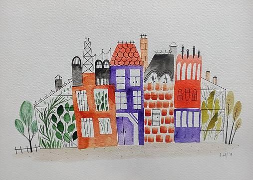 Továrne mesto  ilustrácia / originál maľba