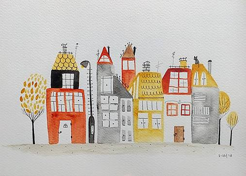 Mesto oranžové   ilustrácia / originál maľba