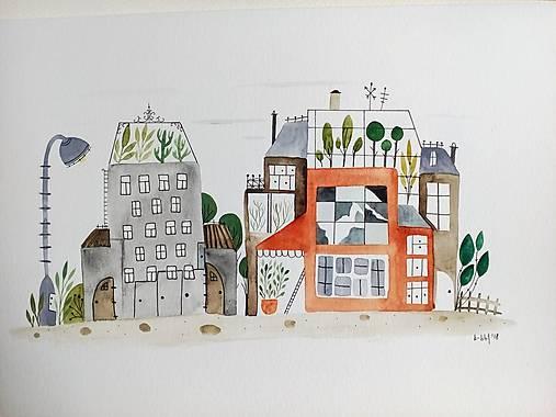 Mesto ilustracia  / originál maľba
