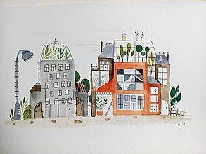 Obrazy - Mesto ilustracia  / originál maľba - 10020544_