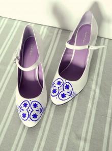 Obuv - lodičky s folklórnym vzorom - modrá - 10021425_