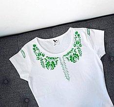 Tričká - folklórne tričko, vzor zelený (Zelená) - 10021590_