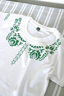 Tričká - folklórne tričko, vzor zelený - 10021613_