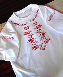 Tričká - Košelotričko - červený folklórny vzor - 10021653_