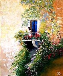 Obrazy - Kvetinový balkón, olejomaľba 50x60 - 10021215_