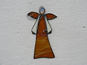 Dekorácie - Vitrážový anjelik s opalitom (Žltá) - 10021317_
