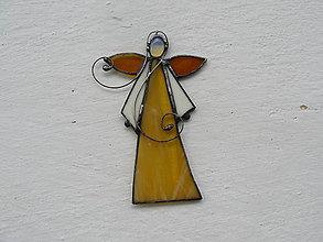 Dekorácie - Vitrážový anjelik s opalitom (Žltá) - 10021331_
