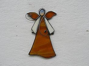 Dekorácie - Vitrážový anjelik s opalitom (Žltá) - 10021332_