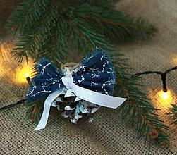 Dekorácie - modrotlač so stuhou_ vianočné ozdoby - 10024758_