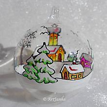 Dekorácie - sklenené gule - Zimná krajinka 17 - 10023495_