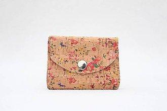Peňaženky - Korková peňaženka kvety - 10022307_