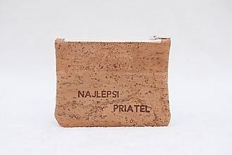 Tašky - Korková peňaženka s vypáleným textom na želanie - 10024282_