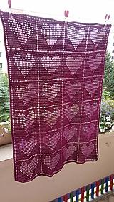 Textil - Háčkovana deka srdiečka - 10021095_