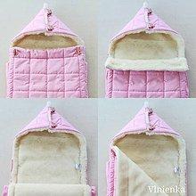Textil - RUNO SHOP fusak pre deti do kočíka 100% ovčie runo MERINO TOP super wash ELEGANT Soft pink - 10020878_