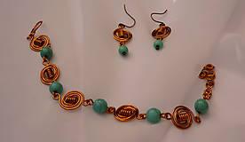 Sady šperkov - Náramok s náušnicami - syntetický tyrkys - 10024789_